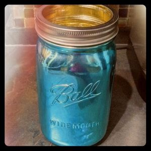 Custom Aqua Chrome Ball Jar Vase